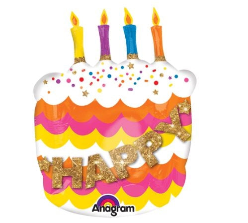 "27""  Happy Birthday Fancy Cake Balloon"
