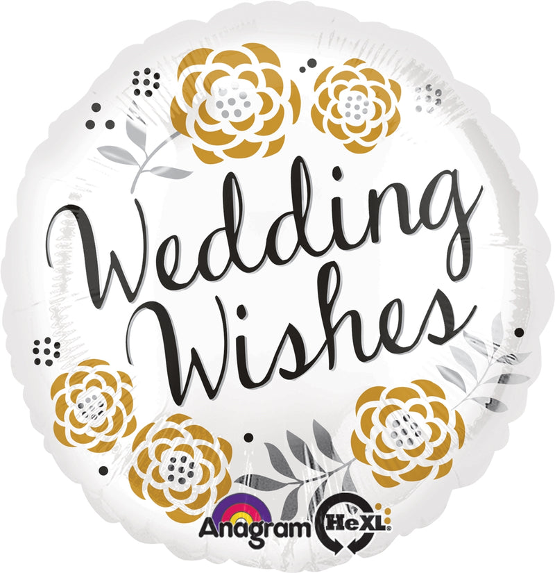 "18"" Wedding Wishes Flowers Balloon"