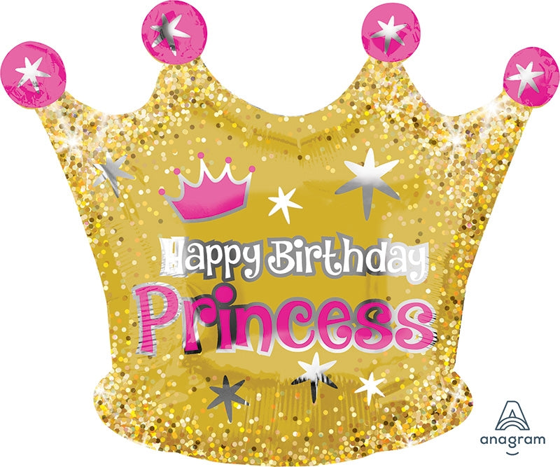 "18"" Happy Birthday Princess Gold Crown Balloon"