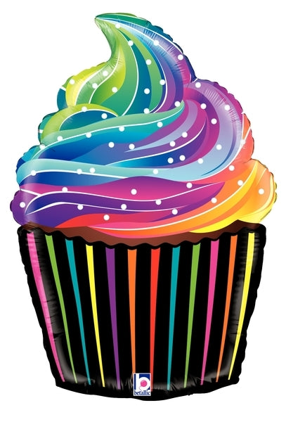 "27""  Rainbow Cupcake Balloon"