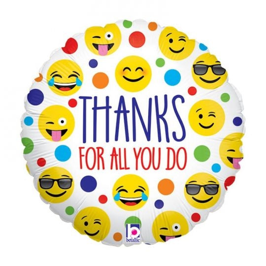"18"" Thanks For All You Do Emoji Balloon"