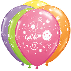 "11"" Get Well Sun & Flowers Latex Balloon"