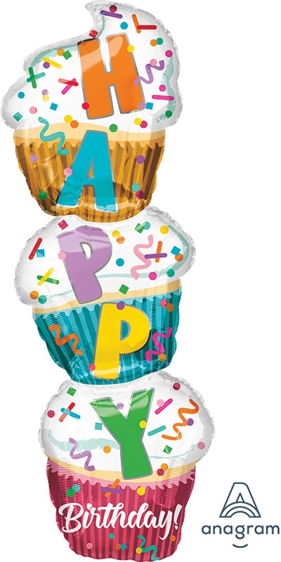 "41"" Jumbo Happy Birthday Stacked Cupcakes Balloon"