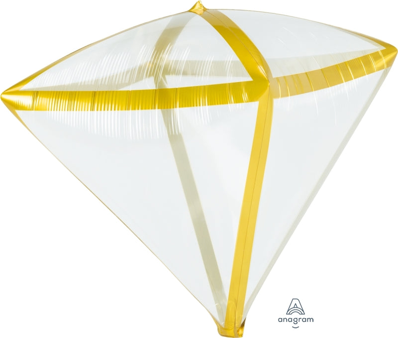 "17"" X 15"" Gold Trim Diamondz Balloon"
