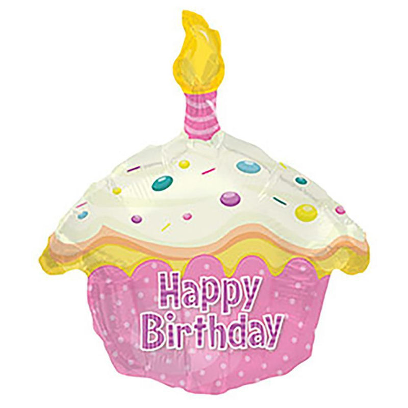 "17"" Happy Birthday Pink Cupcake Balloon"