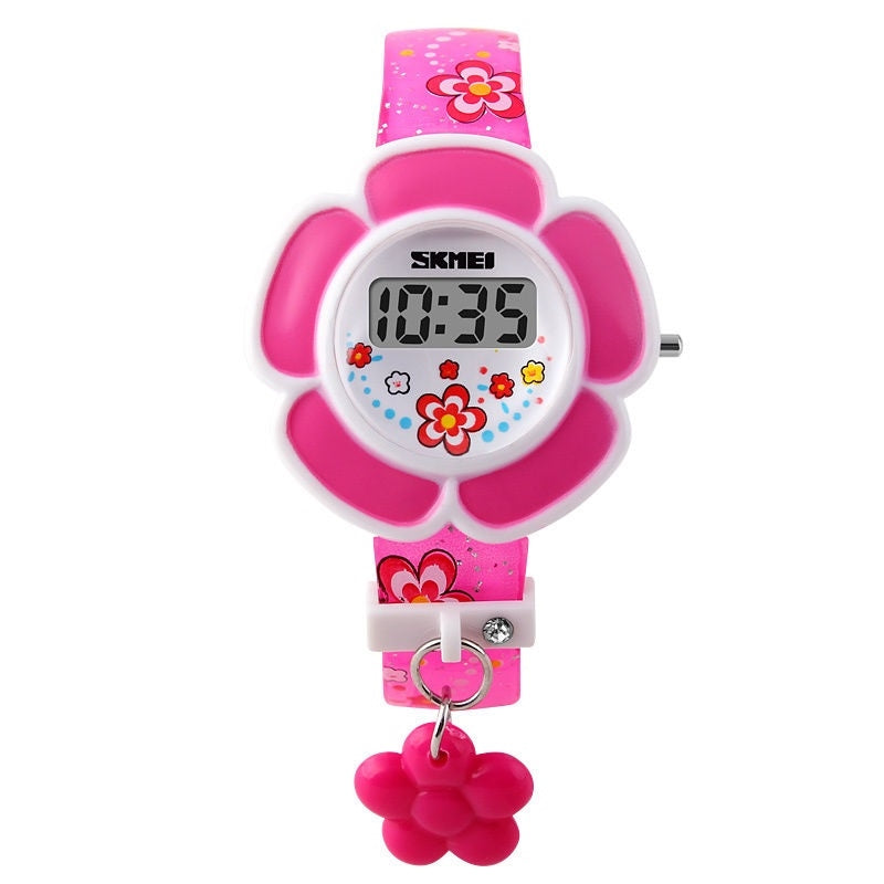 Pink Flower Digital Watch