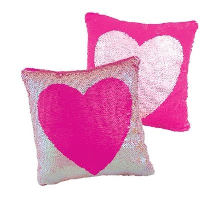 Magic Sequin Heart Reveal Pillow