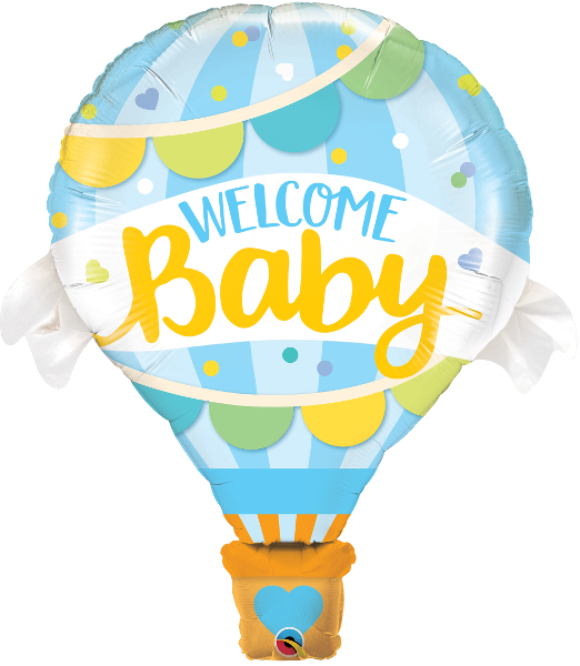 "42"" Welcome Baby Blue Hot Air Balloon Shaped Balloon"
