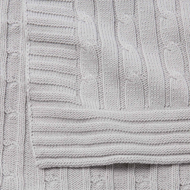 Gray Cable Knit Blanket