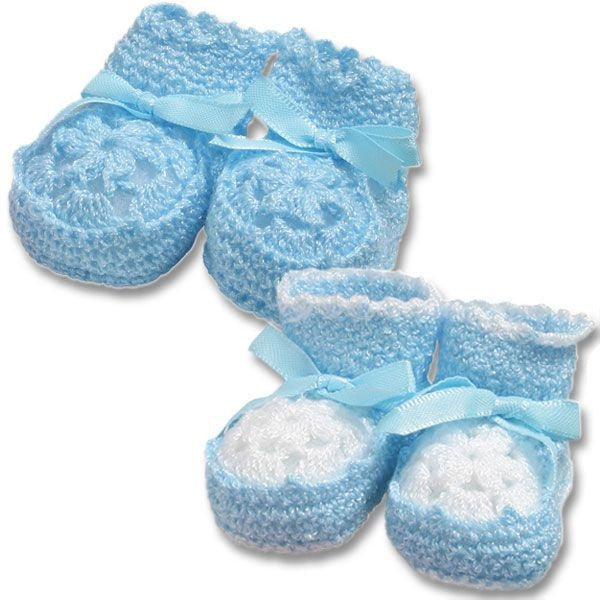 Crocheted Newborn Blue Booties
