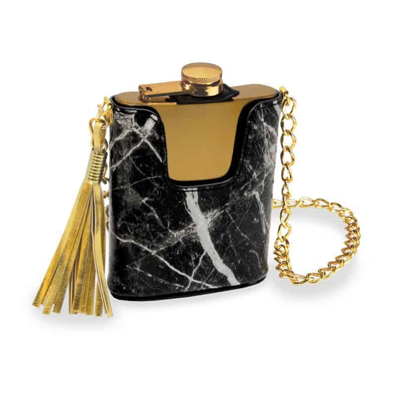 Black Marble & Gold Flask Purse