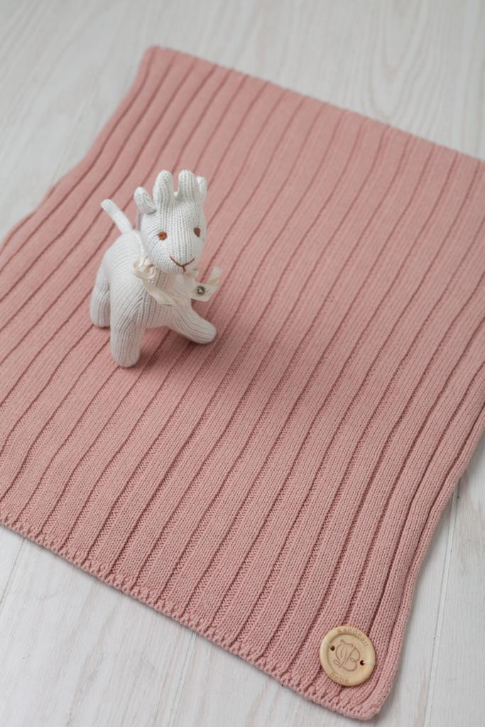 Classic Ribbed Knit Blanket- Dusty Pink