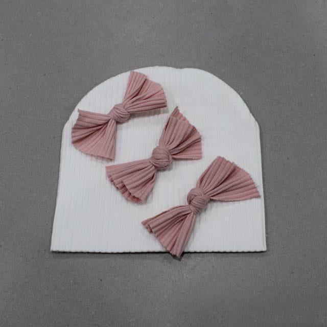 Ivory & Rose Ribbed Triple Bow Beanie
