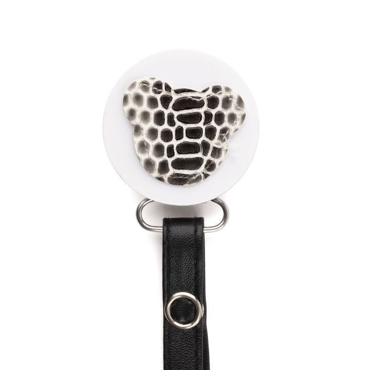 Black & White Croc Teddy Pacifier Clip