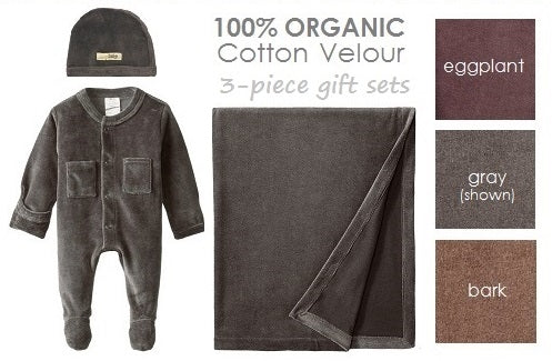 L'oved Baby 3 Piece Gift Set Organic Cotton Velour Gray size 0-3 M