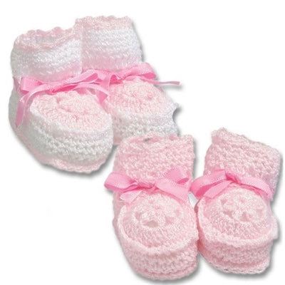 Crocheted Newborn Pink Booties