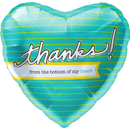"18"" Thanks! From The Bottom Of My Heart Balloon"