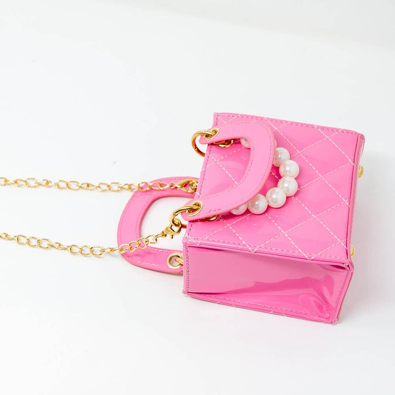 Pink Tiny Quilted Pearl Leather Mini Bag