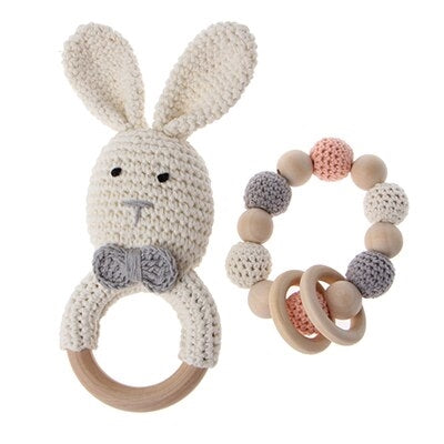Bunny Rattle and Bracelet Set