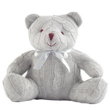 Gray Cable Knit Teddy Bear