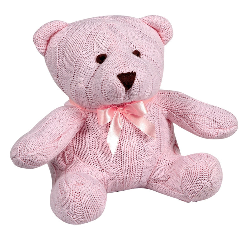 Pink Cable Knit Teddy Bear
