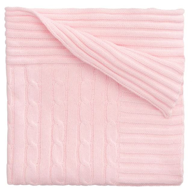 Pink Cable Knit Blanket
