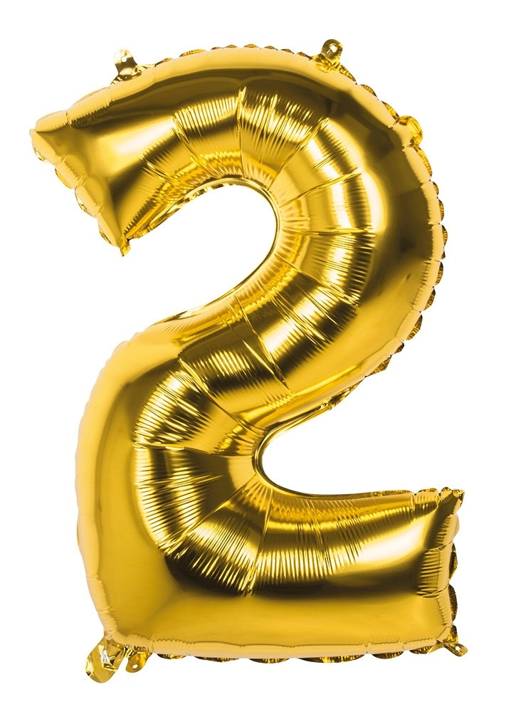 "32"" Number 2 Gold Balloon"
