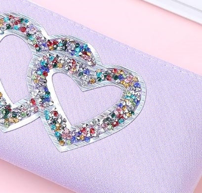 Purple Sequin Heart Pencil Case