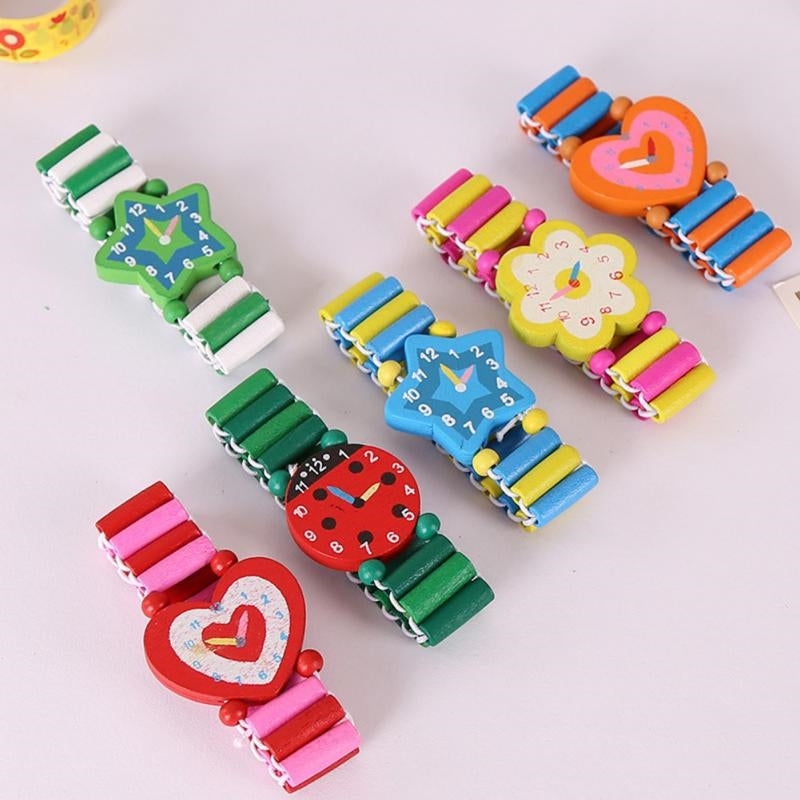 Yellow and Pink Flower Wooden Watch