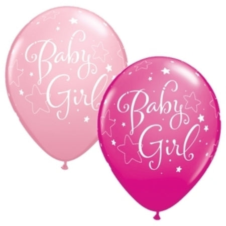 "11"" Baby Girl Stars Latex Balloon"