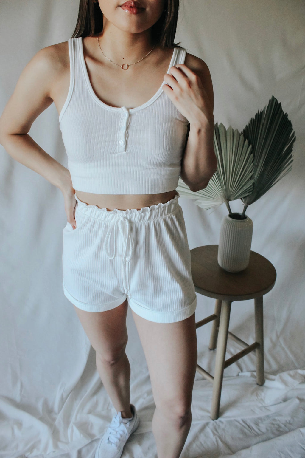 Little White Tank Shorts - Golden Haus Boutique