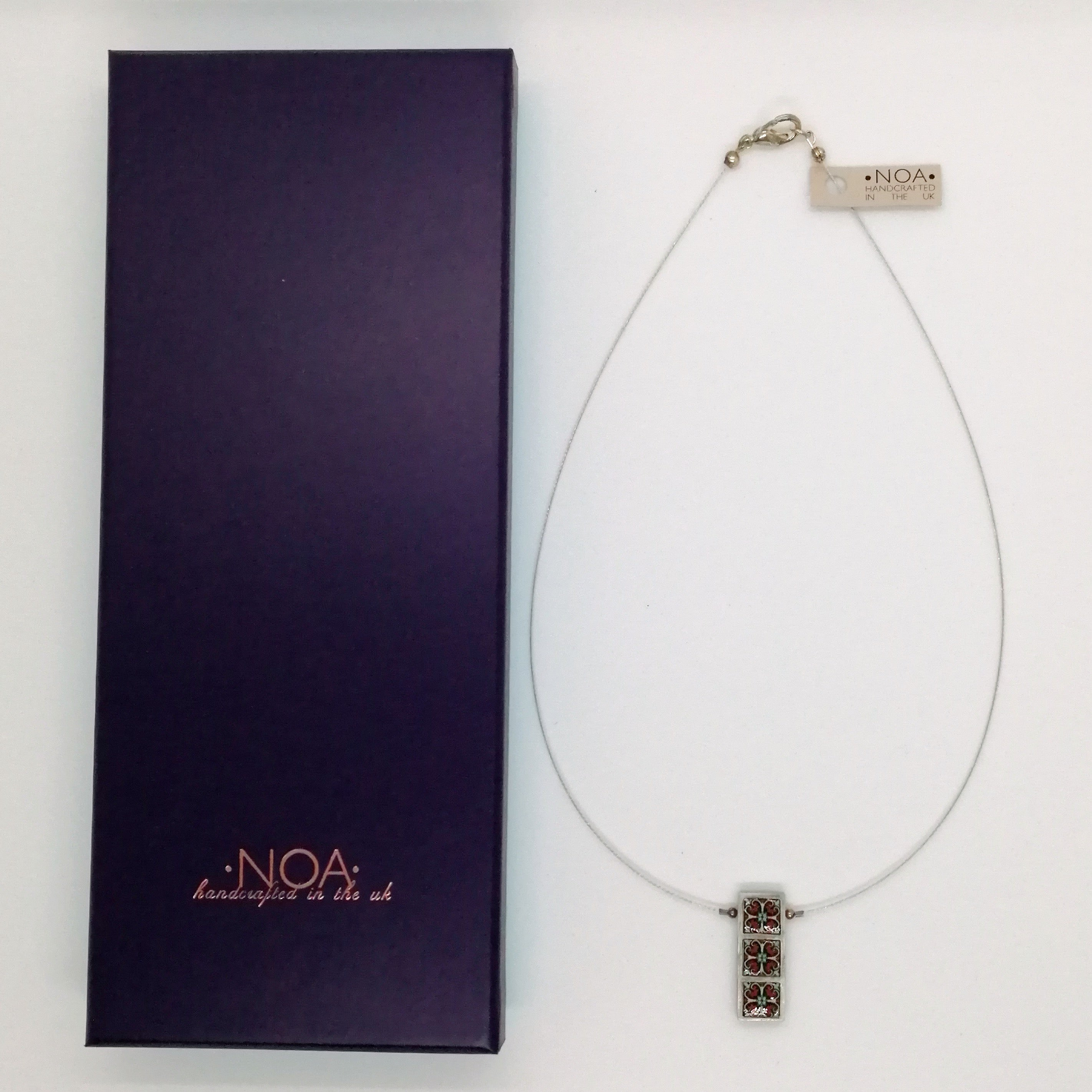 NOA Handmade Rectangle with Three Framed Squares Necklace