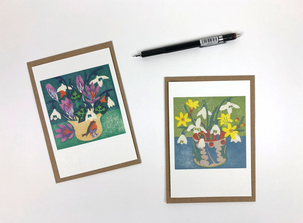 Beginning of the Year / Snowdrops and Winter Jasmine Notecards