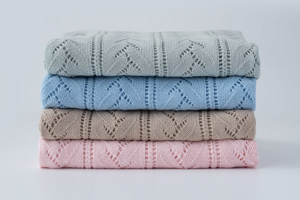 Bloom Knit Baby Blanket - Sky