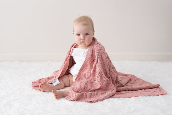 Haven Knit Baby Blanket - Dusty Rose