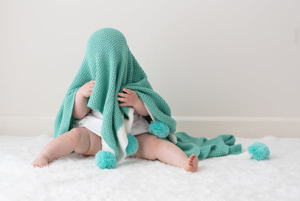 Maize Knit Baby Blanket - Mint