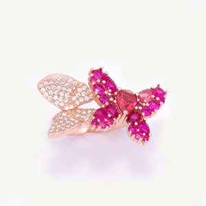 Crystal Butterfly Garden Ring Adaptable
