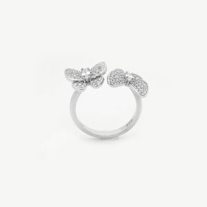 Silver Crystal Butterfly Ring Adaptable