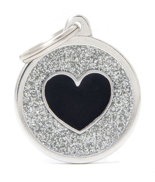 ID Tag - Grey Circle Black Heart