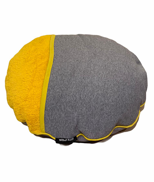 Wouf Pouf - Snuggle Bed Small Yellow & Light Grey