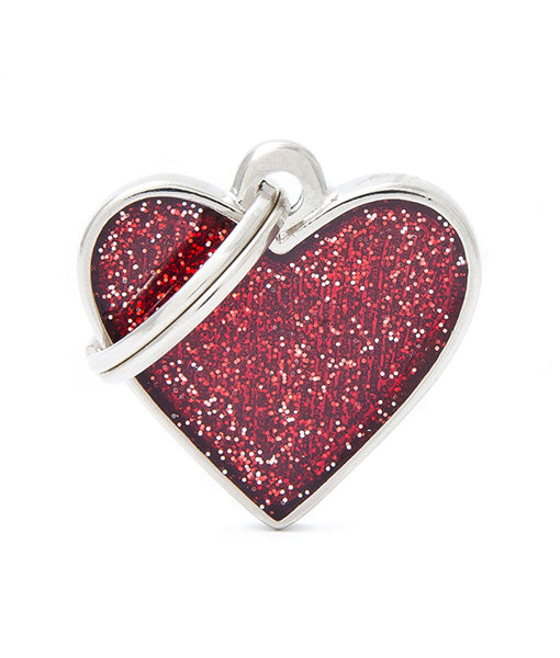 ID Tag - Small heart red