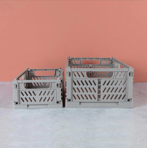 Grey Tiny Folding Storage Crate