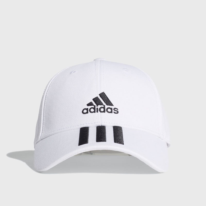 3 Stripe 6 Panel Cotton Cap _ 166426 _ White