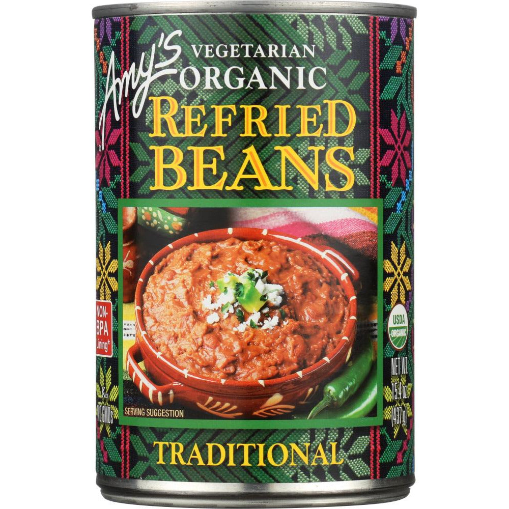 Amy's: Vegetarian Organic Refried Beans Traditional, 15.4 Oz