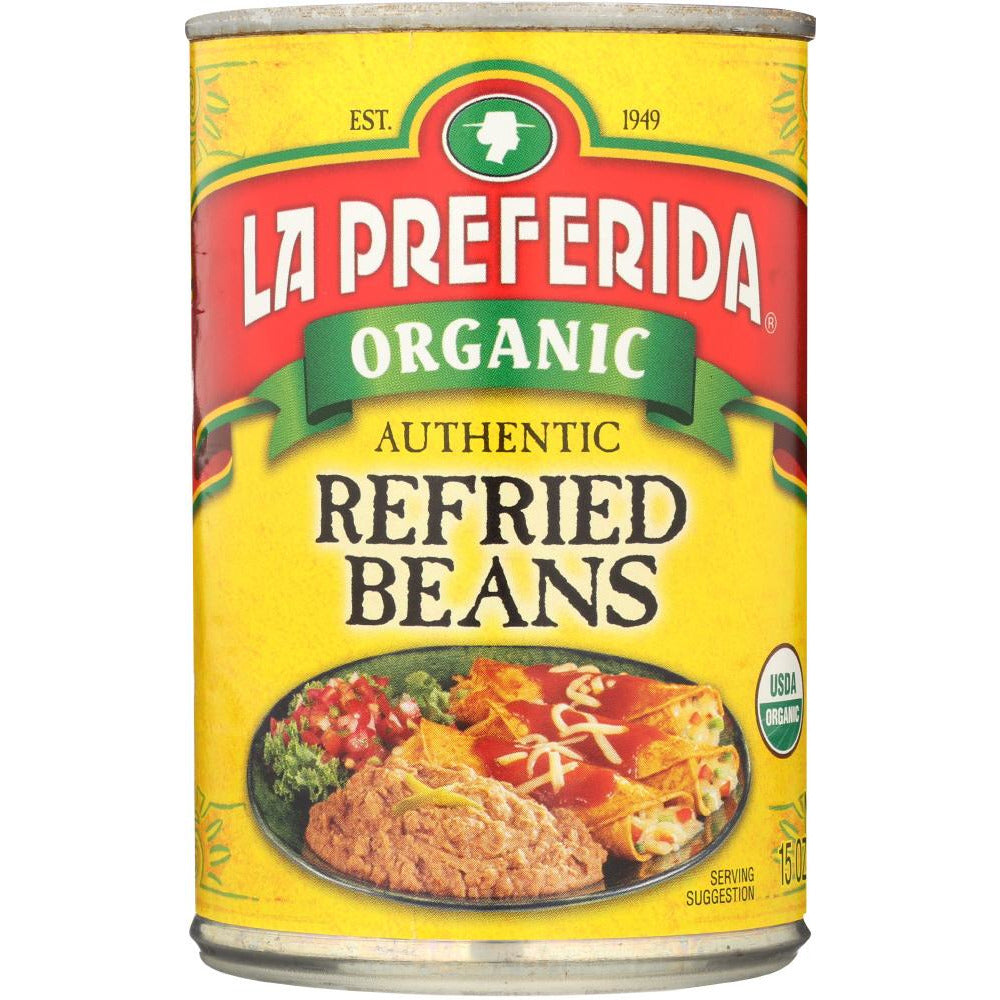 La Preferida: Organic Authentic Refried Beans, 15 Oz