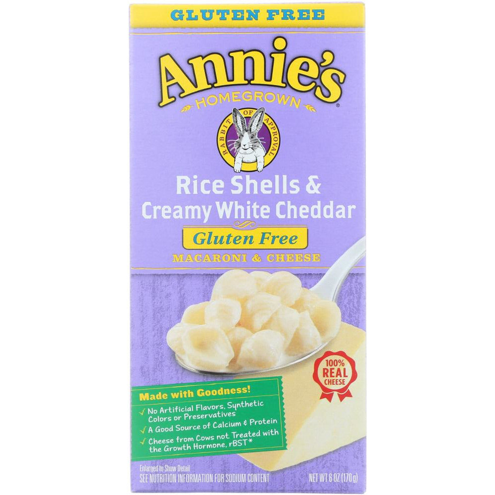 Annie's Homegrown: Rice Shells & Creamy White Cheddar Macaroni And Cheese Gluten Free, 6 Oz