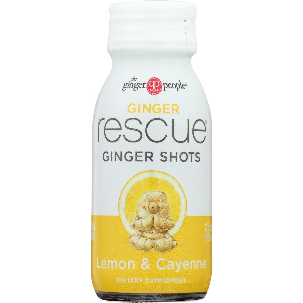 Ginger People: Rescue Ginger Shots Lemon & Cayenne, 2 Oz