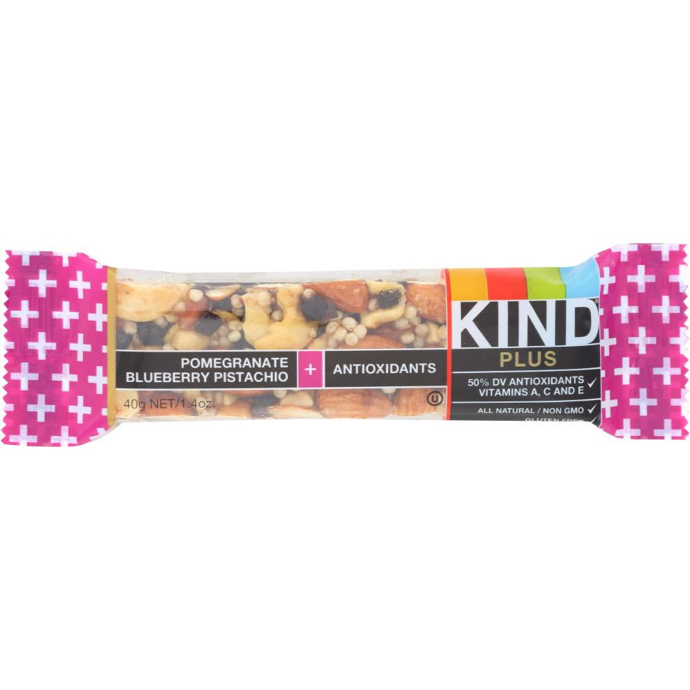 Kind: Plus Pomegranate Blueberry Pistachio + Antioxidants Bar, 1.4 Oz