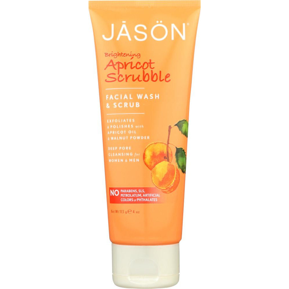 Jason: Brightening Apricot Scrubble Facial Wash & Scrub, 4 Oz