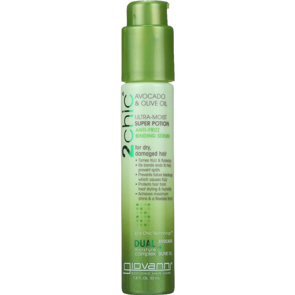 Giovanni Cosmetics: 2chic Ultra-moist Super Potion Anti-frizz Binding Serum Avocado & Olive Oil, 1.8 Oz
